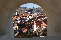 チェスキークロムロフ城から見下ろす街の景色